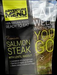 ADVENTURE MENU Steak z lososa s čočkovým ragů