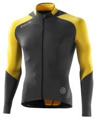 C400 Skins pánský cyklistický dres dlouhý rukáv šedá žlutá