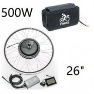 """EVbike Přestavbová sada  500W, 36V, 26"""", jednotka, LCD displej, baterie 13Ah v brašně, přední umístění - EVBIKE"""