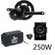 EVbike Přestavbová sada na elektrokolo 250W, 36V, displej C18, baterie 15,6Ah v brašně - EVBIKE