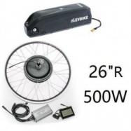 """EVbike Přestavbová sada 500W, 36V, 26"""", jednotka, LCD displej, baterie 15,6Ah na rám, zadní umístění - EVBIKE"""