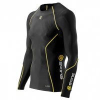 SKINS A200 Mens Black/Yellow Top Long Sleeve XXL