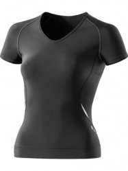 SKINS A400 Womens Black/Silver Top Short Sleeve